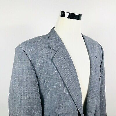 Gieves & Hawkes Mens 46R Sport Coat Wool Linen Blend Gray Two Button