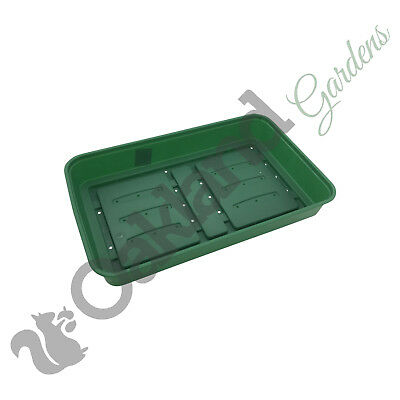 50 x Full Size 38cm Seed Tray Green With Holes Rigid Strong Propagator Tray