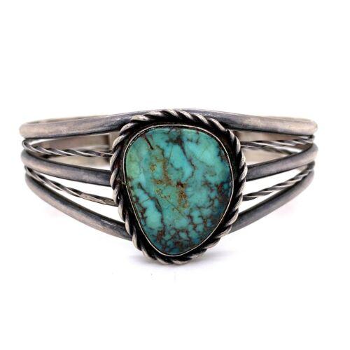 """VTG Estate Navajo Sterling Silver & Turquoise Cuff 5 ¾"""" Bracelet! 119"""