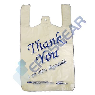 1000 White Blue Large Thank You 100% Degradable Eco Plastic Vest Carrier Bags