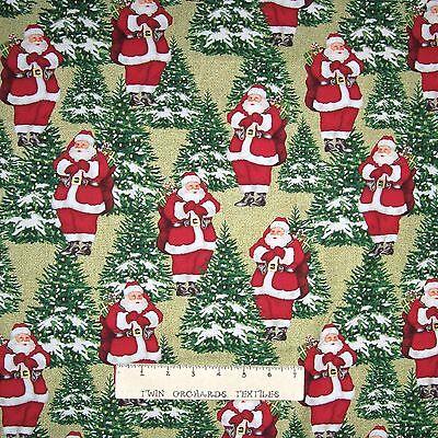 - Christmas Fabric - Homespun Holiday Santa Claus - Benartex YARD