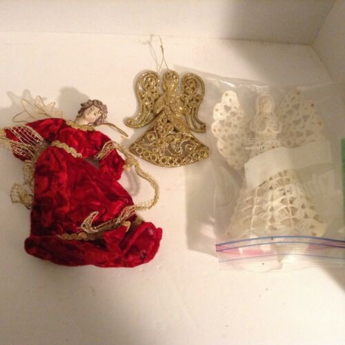 Christmas Tree Ornaments Angel w/Red Velvet Gold, Crochet angel and gold angel