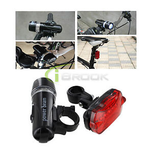 Kit of Bicycle Headlight and Rear LED Flashing Safety Taillight Night Trail Set