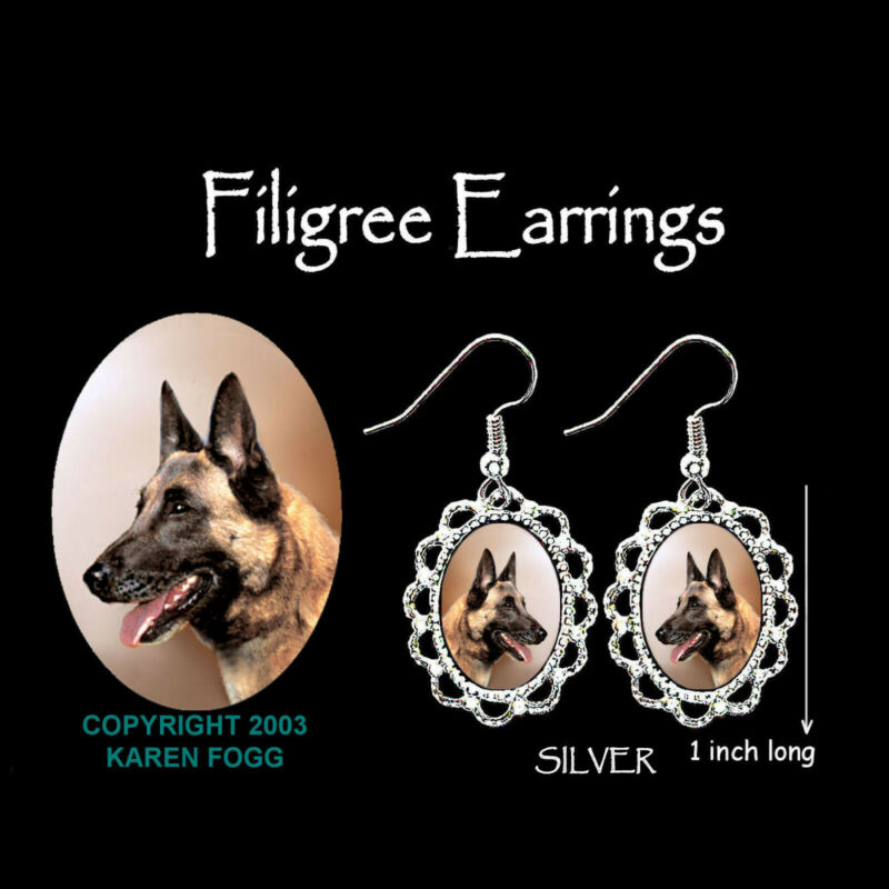 BELGIAN MALINOS DOG - SILVER  FILIGREE EARRINGS Jewelry