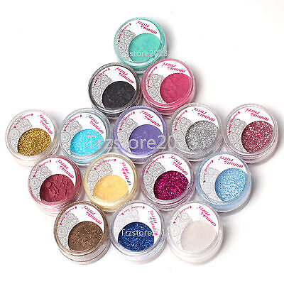Set 15 Satin Glitter Mineral Pearl Loose Eyeshadow Shadow Dust Pigment  Powder - Minerals Loose Shadow