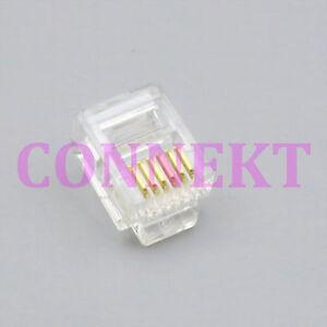 50pcs-RJ12-RJ11-Tel-ADSL-Plug-Modular-Plugs-6P6C-for-Solid-Connectors-for-cable