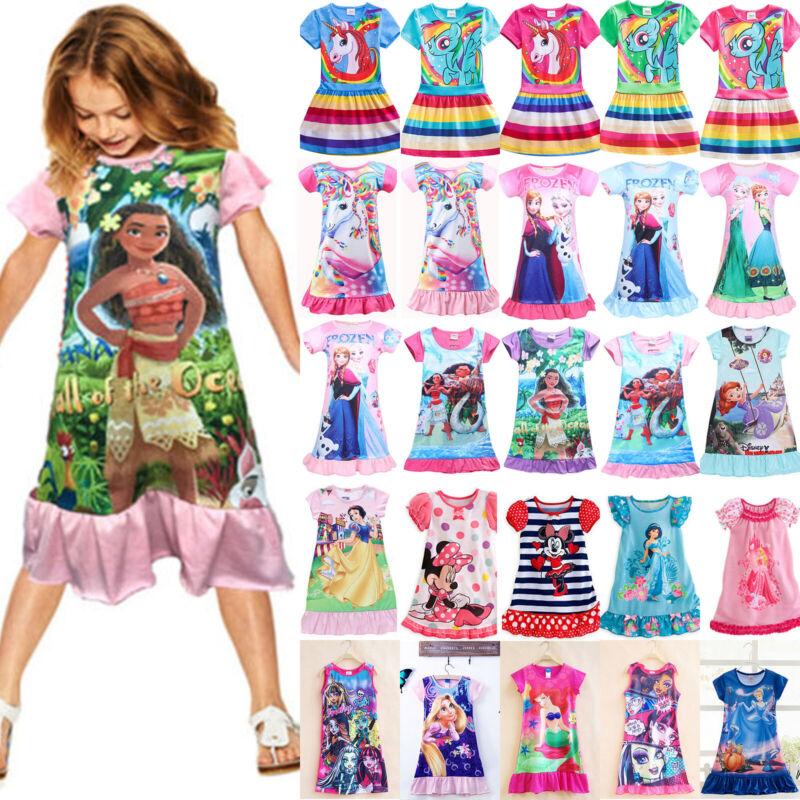Kinder Mädchen Nachthemd Nachtwäsche Schlafanzug Pyjamas Sommer Freizeit Kleider