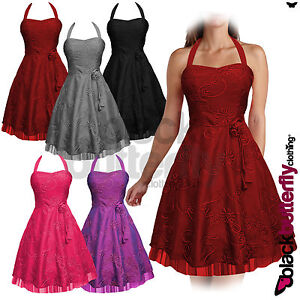 NEW-SATIN-BRIDESMAID-FLORAL-50s-60s-ROCKABILLY-VTG-SWING-PROM-DRESS-SIZE-8-24