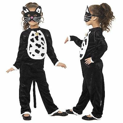Mädchen Kinder Katze Kitty Pussycat Maskenkostüm Schwarzer Body Glocke mit Maske ()