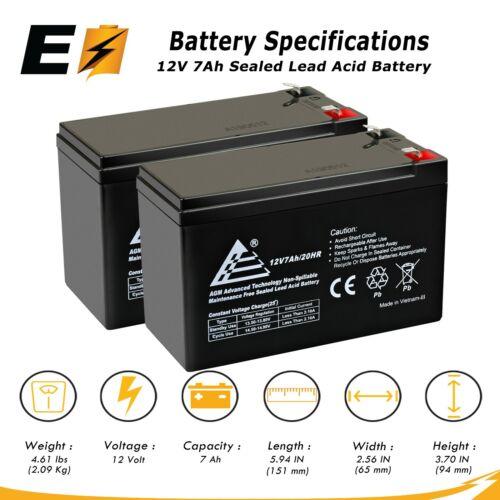 2 Pack: ExpertBattery 12V 7Ah SLA Battery Replaces Enduring 6-FM-7