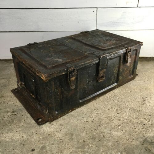 Vintage Steel Strong Box with Distressed Paint Finish