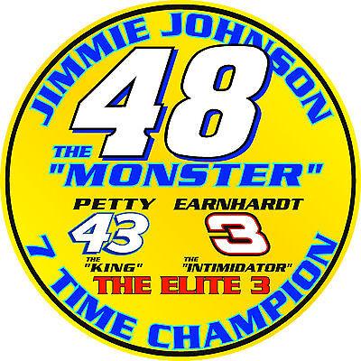Jimmie Johnson Racing - #48 Jimmie Johnson ELITE 3 7 time series champion racing sticker decal