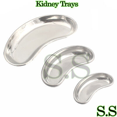 Set Of 3 Kidney Tray Dish 6810 Stainless Steel Dental Surgical Instruments