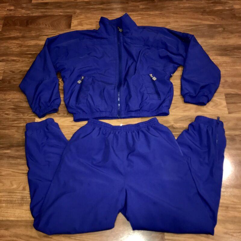 Vtg 80s 90s Two Piece Womens MEDIUM Purple TRACK SUIT Jacket Pants Jogging Set M