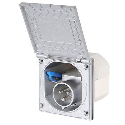 CEE Aussensteckdose silber 200-250V, 16A, 3 polig, IP44, für Wohnmobil