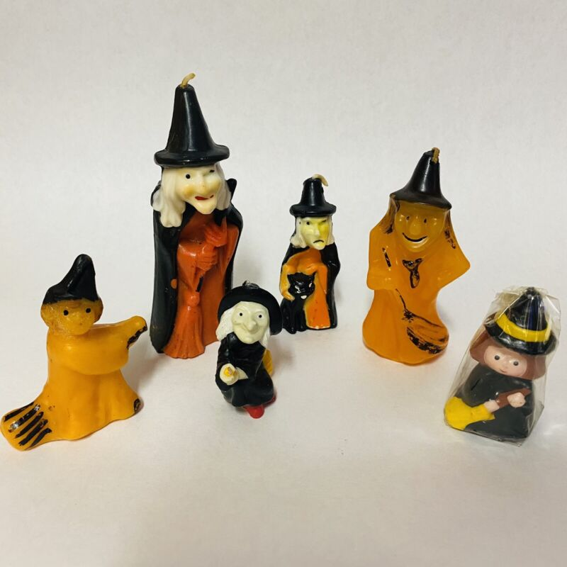 Vintage Gurley Hallmark Wax Candles Halloween Witches Lot Of 6 Unused