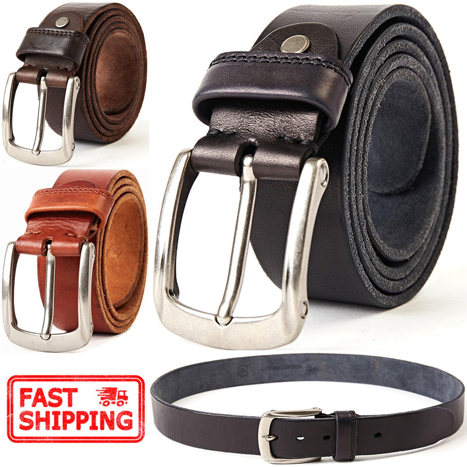 Men's Classic Metal Buckle Handcrafted Italian Full Grain Leather Jean Belt Belts