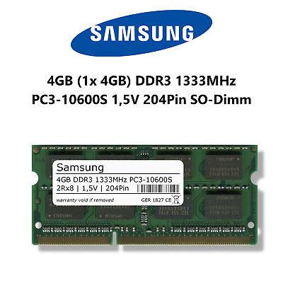 Samsung 4GB (1x 4GB) DDR3 1333MHz (PC3-10600S) 1,5V 204Pin SO Dimm