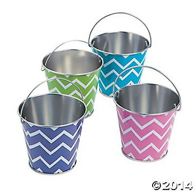 CHEVRON PRINT METAL PAILS BUCKETS NEW (LOT OF 12) HUGE LOT ASSORTED COLORS - Colored Metal Buckets