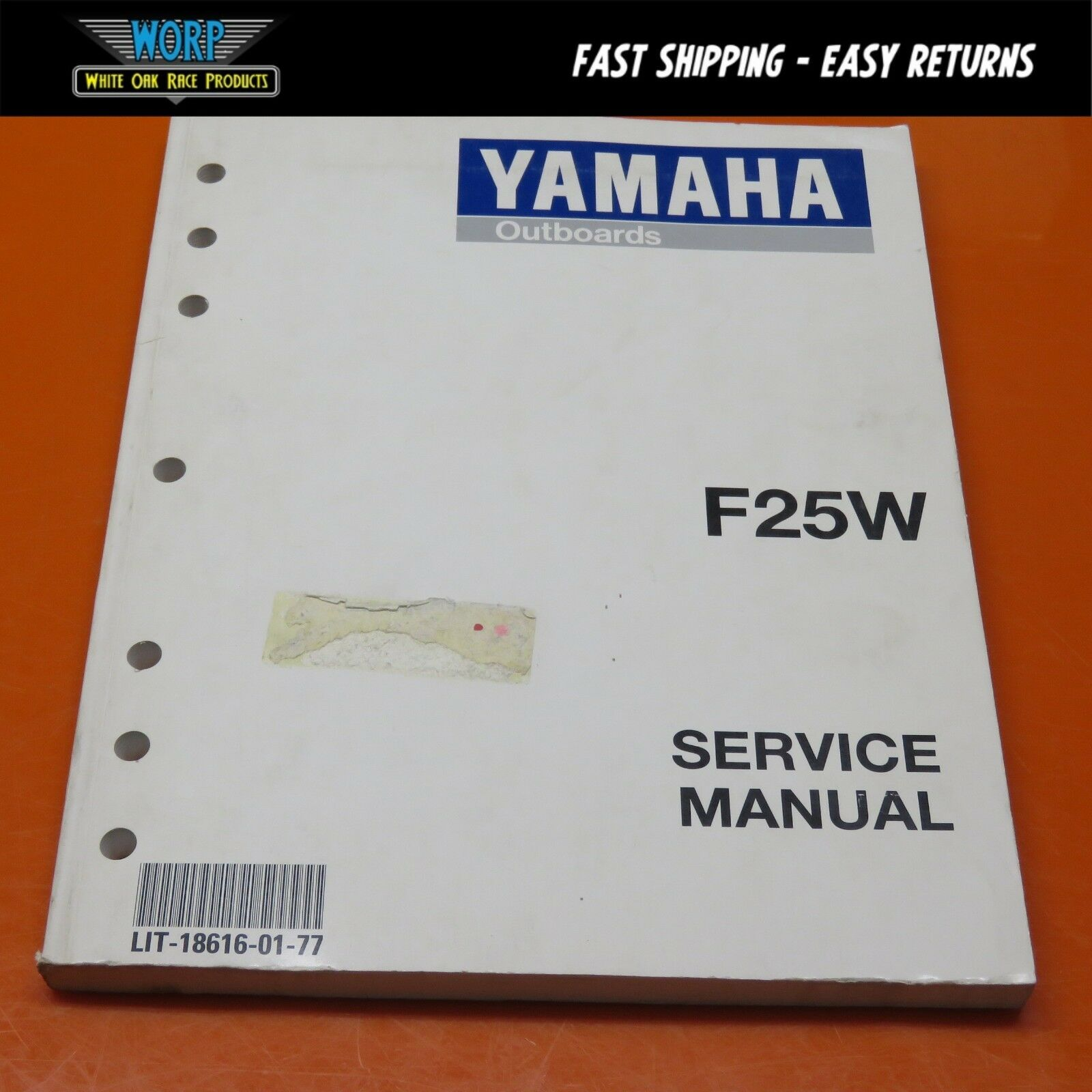 OEM Yamaha F25 W F25W Outboard Boat Engine Factory Service Manual Shop Book