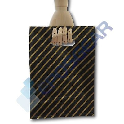 5000 Small Black and Gold Striped Jewellery Fashion Gift Plastic Carrier Bags