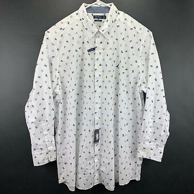 Nautica Mens Big & Tall Flag Print Classic Fit Button Down Shirt White 4XLT