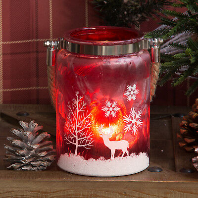 Christmas Red Reindeer Frosted Glass Mason Jar Xmas Candle Tealight Holder