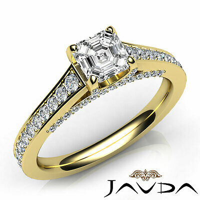 Asscher Shape Diamond Engagement GIA G VS2 Pave Set Ring 18k Yellow Gold 1.25Ct
