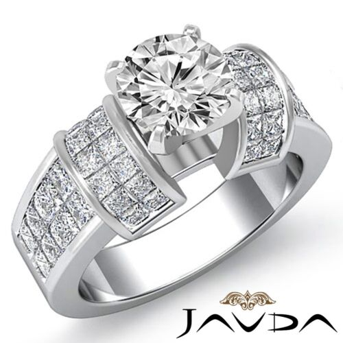 2.96ct Natural Round Diamond Engagement Invisible Ring GIA F VS2 14k White Gold