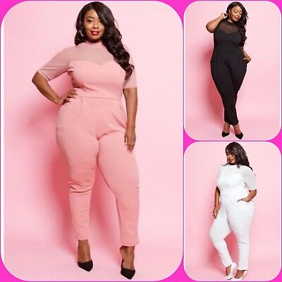 Mesh Catsuits (PLUS SIZE CASUAL SHEER SLEEVE MESH TOP CATSUIT POCKET TEXTURED JUMPSUIT 1X 2X)