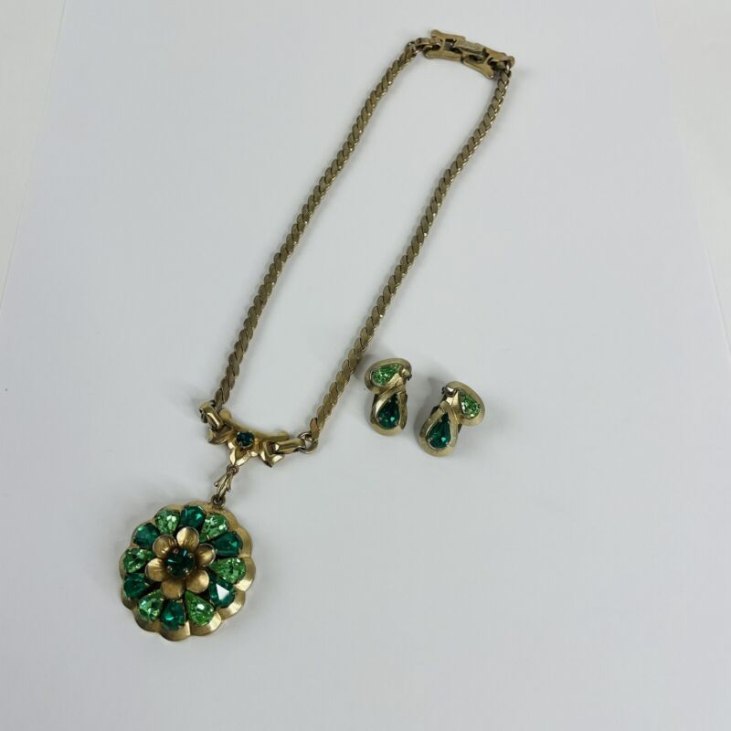 Vintage 1940's Women's Signed Barclay Green Rhinestone Necklace & Earrings