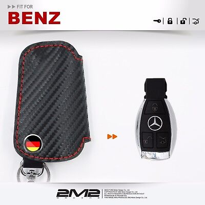BM039Leather Key fob Holder Case Chain Cover FIT For BENZ C 180 200 CDI C63 w204