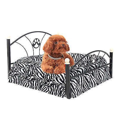 Dog Cat Zebra Bed Pet Cushion Upscale Metal Frame Mattress Included Removable