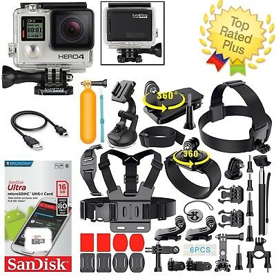 GoPro HERO 4 Black Edition + Sports Accessory Kit Complete Bundle (40+ PCS)