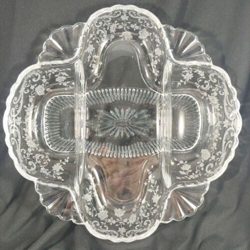 vtg Cambridge Glass Elegant Chantilly Floral Etched 3 Part Relish Divided Dish
