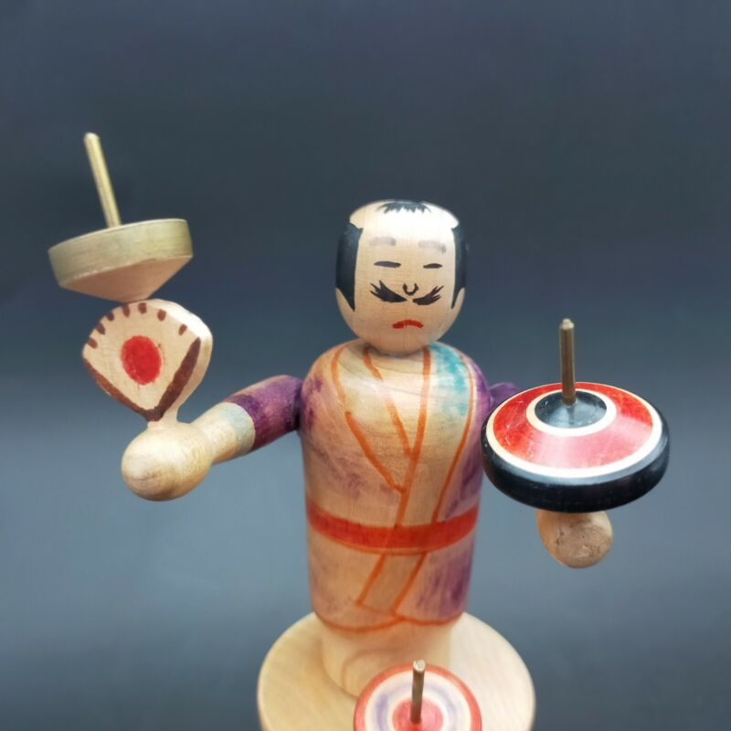 Japanese wooden  Edo koma top  spinning trick performers Sano Tsutomu edo goma