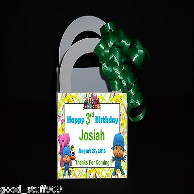 Pocoyo 12 Favor Boxes Personalized Birthday Party   Ribbon Included