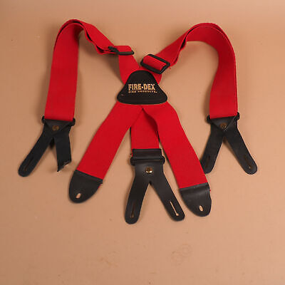 Fire-dex Firefighter Stretch Elastic Suspenders X-back W 8 Button Leather Ends C