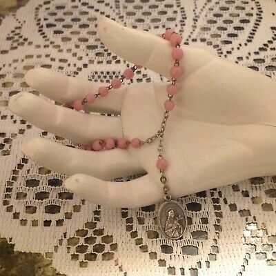 Vintage Set  Molded faux ivory plastic flower bead OTH necklace with matching pierced earrings