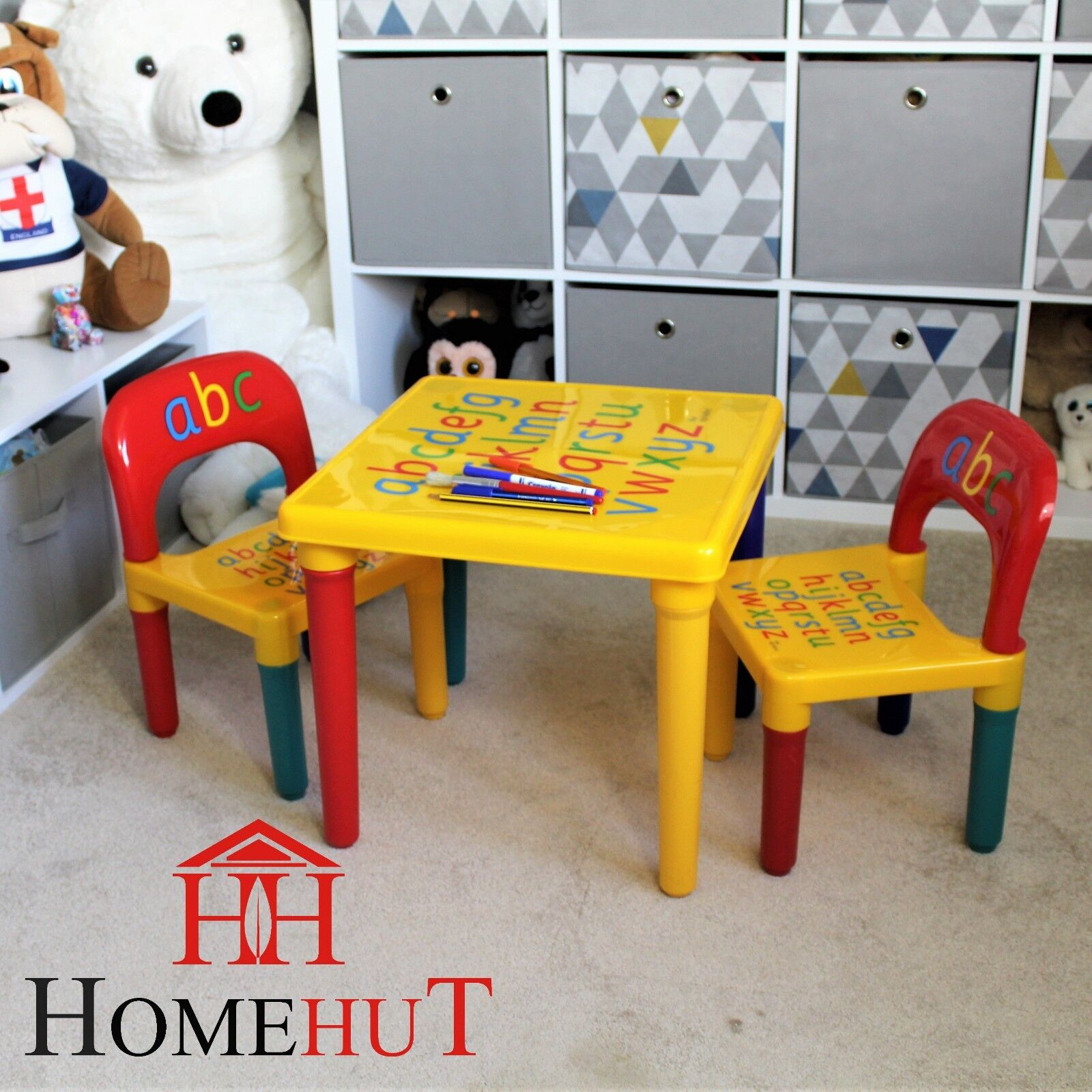 Table And Chair Set Abc Alphabet Childrens Plastic Kids Toddlers Childs School
