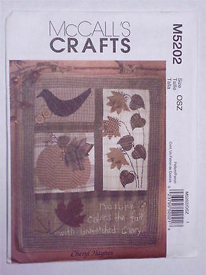 Pattern for Fall Quilt & Wallhanging Pumpkin Leaves Sunflowers McCall's M5202 - Fall Crafts For Adults