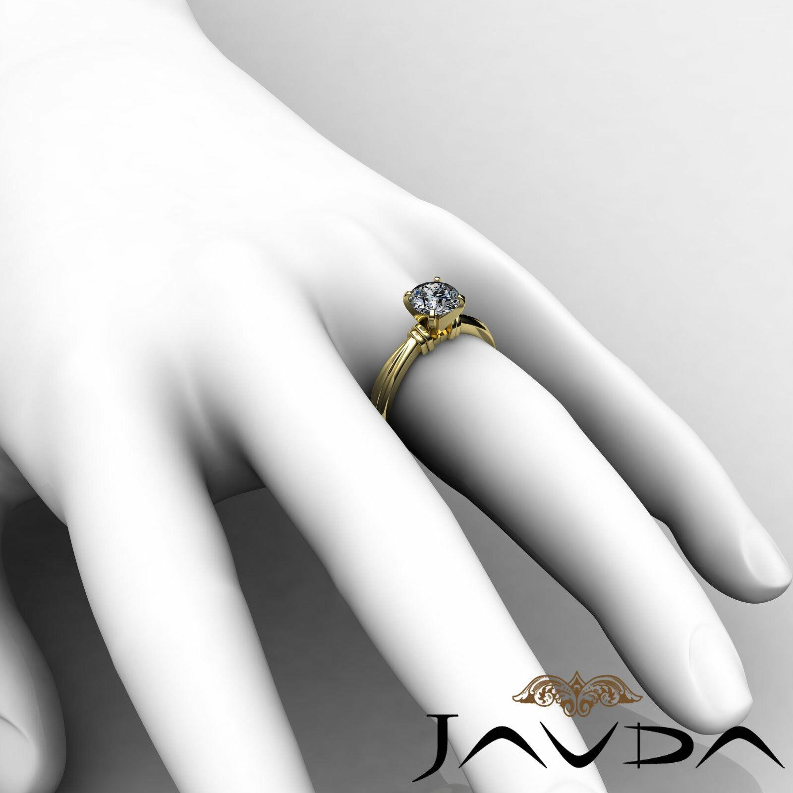 Round Solitaire Natural GIA H Color VVS2 Diamond Women's Engagement Ring 1 ctw. 11