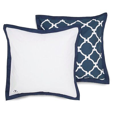 JILL ROSENWALD European Pillow Sham, HAMPTON LINKS Reversible, Navy & White, NEW