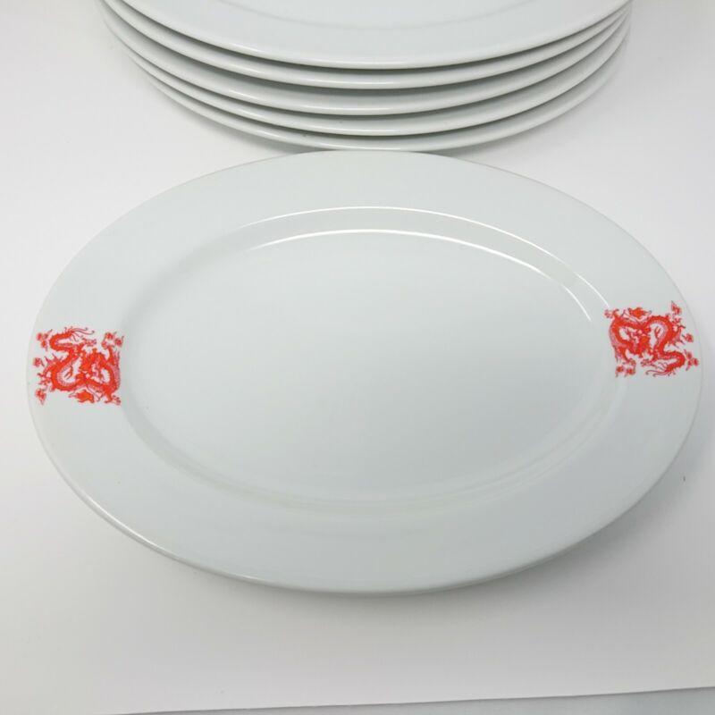 "Vintage Chinese Restaurant Red Dragon Oval Dinner Serving Plates 12.25"" (6/pk)"