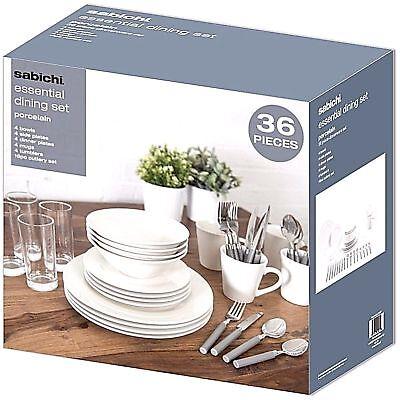 Sabichi Essential 36 Piece Dining Dinner Starter Set - Porcelain - White