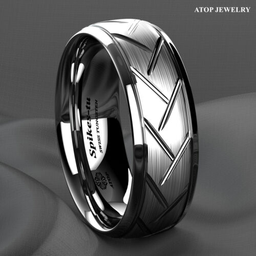 8/6mm Silver Brushed Tungsten Ring For Mens Wedding Band Bridal Atop Jewelry
