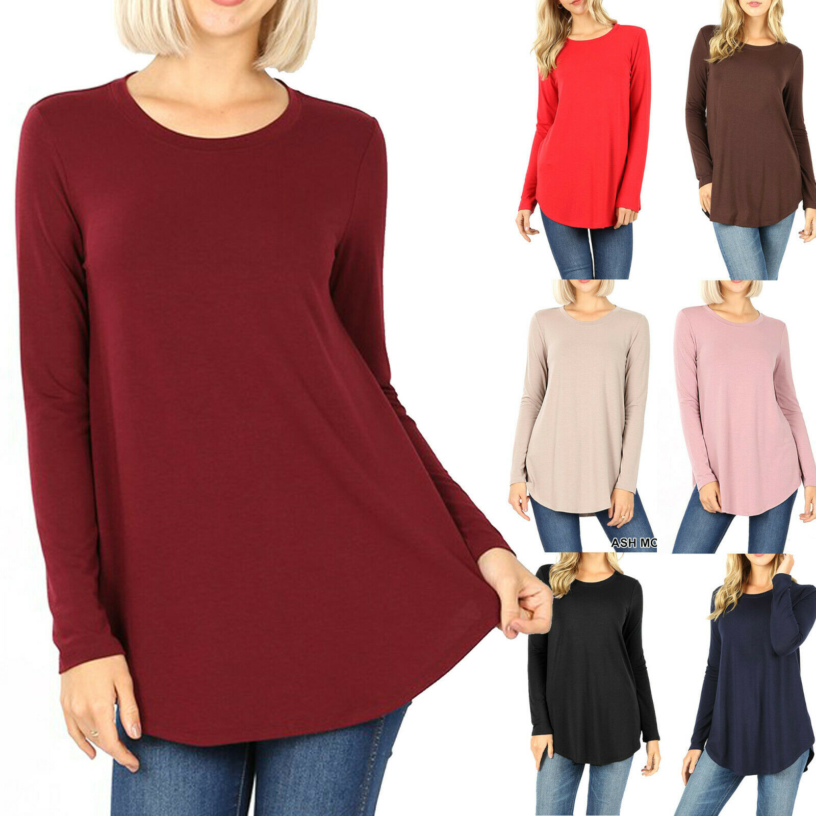 Women's Long Sleeve Tunic Top Casual Crew Neck Basic T-Shirt Blouse Loose Fit Clothing, Shoes & Accessories