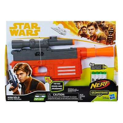 "BRAND NEW DISNEY Star Wars Nerf blaster ""Han Solo"" Blaster Glowstrike"