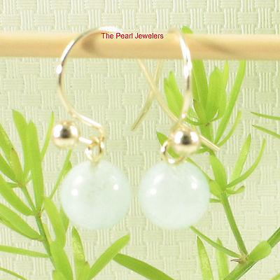 14k Yellow Solid Gold Ball Fish Hook Gold Dangle Blue Aquamarine Earrings TPJ