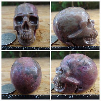 "1.92"" Rhodonite Skull Carved Stone 120.8g 4.3oz Crystal Healing Realistic"